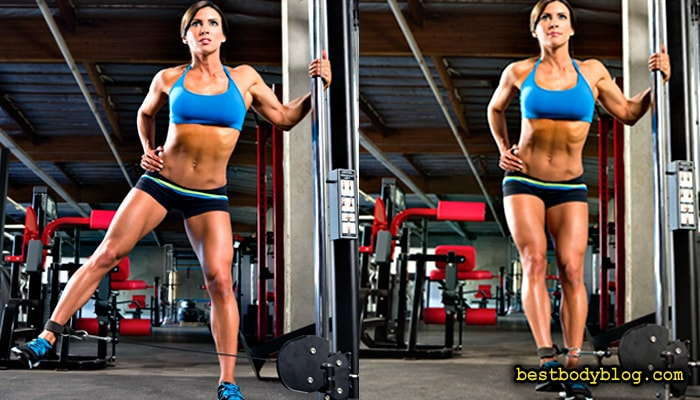 Отведение ноги в сторону на нижем блоке формирует боковые отделы ягодичных мышц