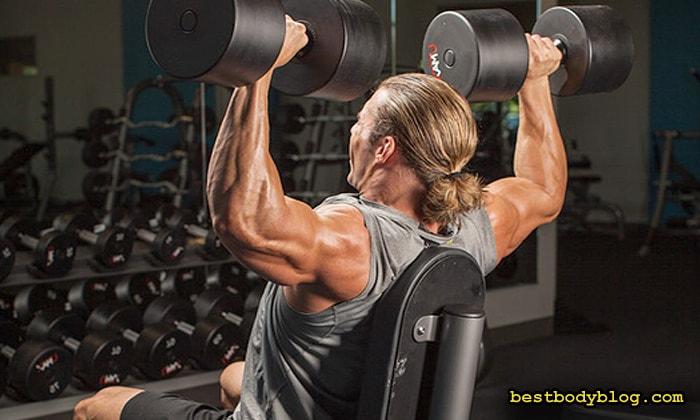 Тренировка плеч | Жим гантелей сидя