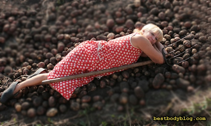 Копание картошки может вызвать задержку похудения