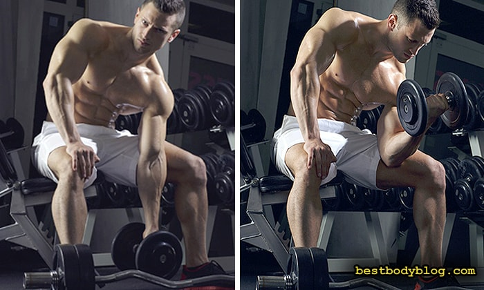 Лучшие упражнения на бицепс. Концентрированные подъемы с гантелью
