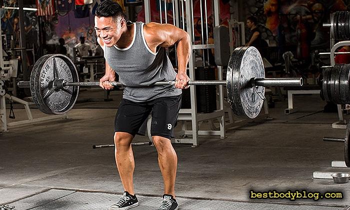 Лучшие упражнения для спины на массу | Тяга штанги в наклоне обратным хватом