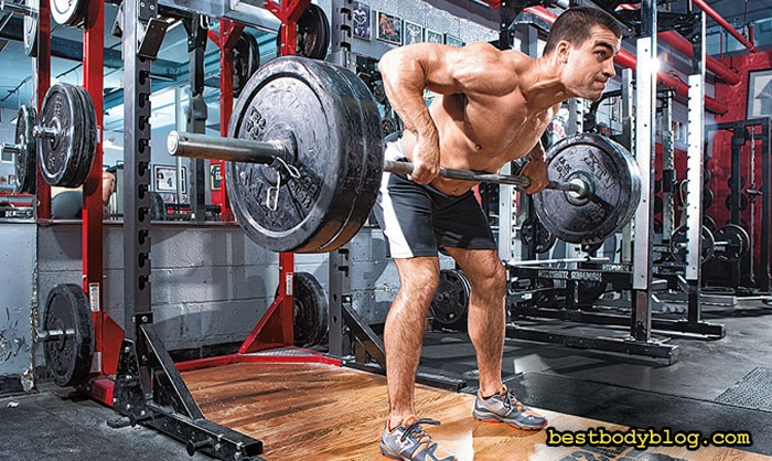 Тяга штанги к поясу в наклоне | Классическая версия упражнения для спины